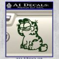 Garfield Decal Sticker Sitting Dark Green Vinyl 120x120