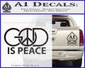God Is Peace Decal Sticker Carbon FIber Black Vinyl 120x97