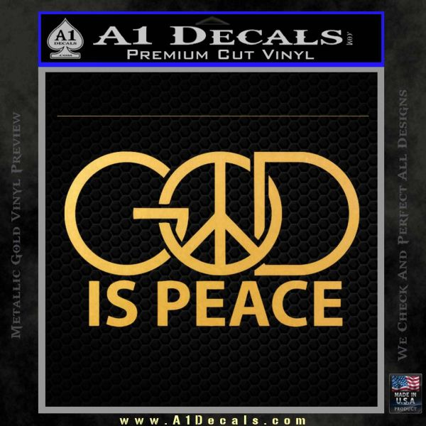 God Is Peace Decal Sticker Gold Vinyl