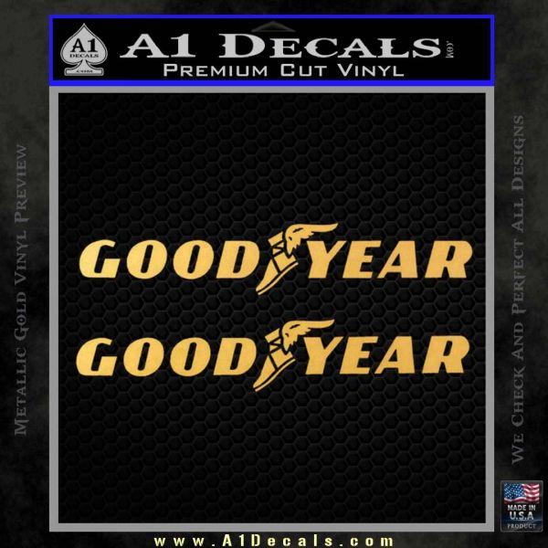 Good Year Tires Goodyear Decal Sticker Gold Vinyl