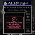 Guns Are Welcome Sticker Decal Pink Emblem 120x120