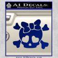Heart Skull Cross and Crossbones Decal Sticker D2 Blue Vinyl 120x120