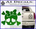 Heart Skull Cross and Crossbones Decal Sticker D2 Green Vinyl Logo 120x97