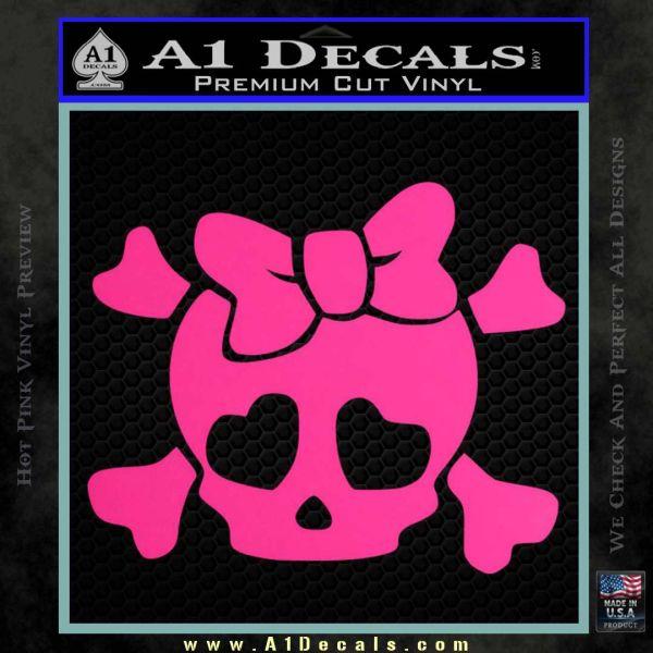 Heart Skull Cross and Crossbones Decal Sticker D2 Pink Hot Vinyl