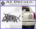 Heathen Jesus Fish Decal Sticker Carbon FIber Black Vinyl 120x97
