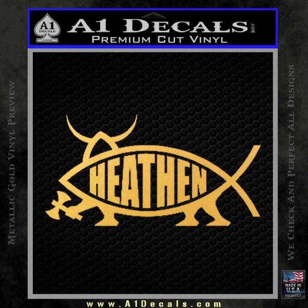 Heathen Jesus Fish Decal Sticker Gold Vinyl