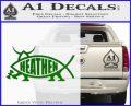 Heathen Jesus Fish Decal Sticker Green Vinyl Logo 120x97