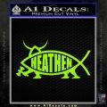 Heathen Jesus Fish Decal Sticker Lime Green Vinyl 120x120