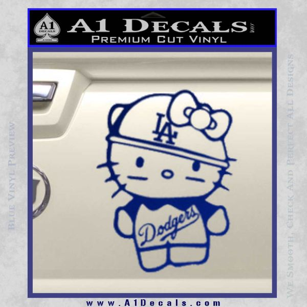 Hello Kitty Dodgers Decal Sticker Blue Vinyl