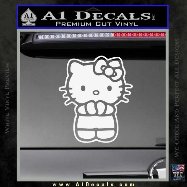 Hello Kitty Praying Decal Sticker White Vinyl Black