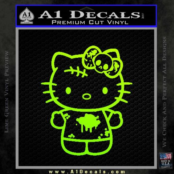 Hello Kitty Zombie Simple Decal Sticker Neon Green Vinyl Black