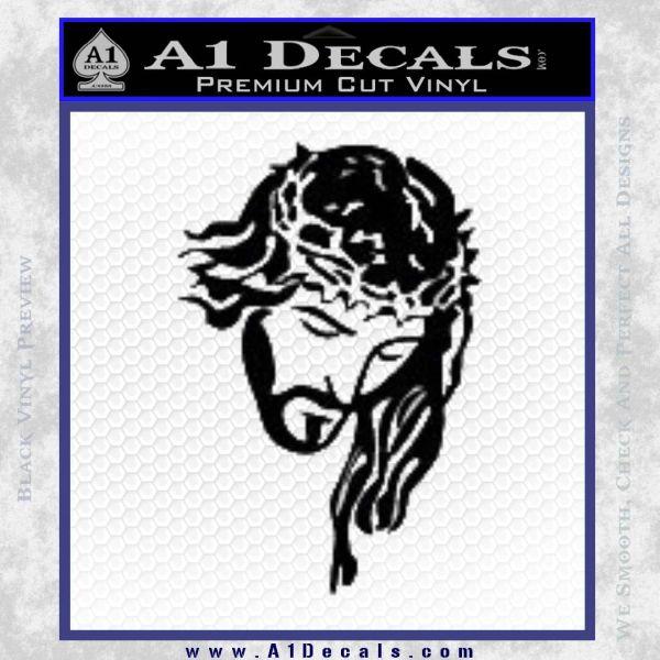 Jesus Face Decal Sticker V5 Black Vinyl