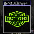Jesus His Only Son Decal Sticker Lime Green Vinyl 120x120