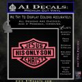 Jesus His Only Son Decal Sticker Pink Emblem 120x120