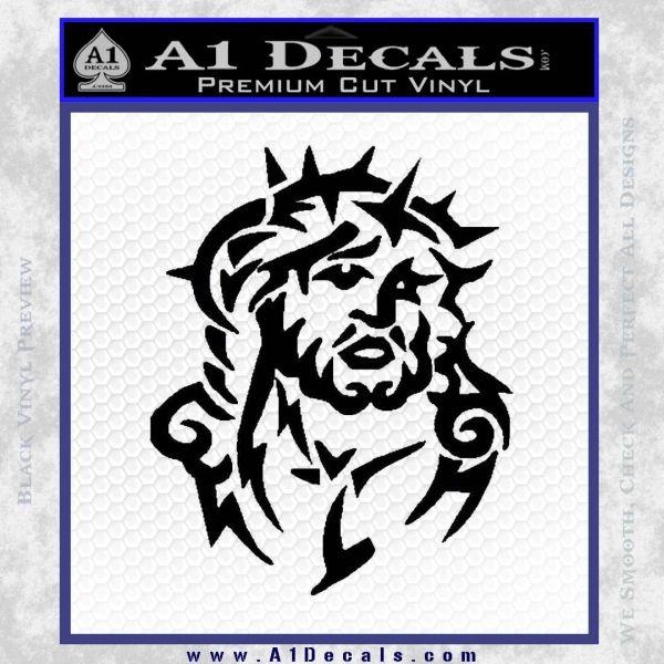 Jesus In Thorns Decal Sticker Black Vinyl
