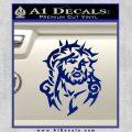 Jesus In Thorns Decal Sticker Blue Vinyl 120x120