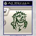 Jesus In Thorns Decal Sticker Dark Green Vinyl 120x120