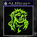 Jesus In Thorns Decal Sticker Lime Green Vinyl 120x120
