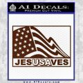 Jesus Saves USA Decal Sticker BROWN Vinyl 120x120