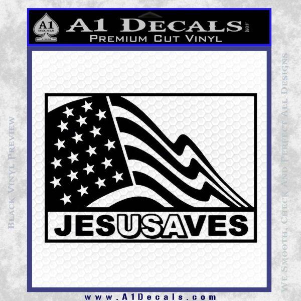 Jesus Saves USA Decal Sticker Black Vinyl