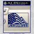 Jesus Saves USA Decal Sticker Blue Vinyl 120x120