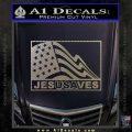 Jesus Saves USA Decal Sticker Carbon FIber Chrome Vinyl 120x120