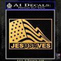 Jesus Saves USA Decal Sticker Gold Vinyl 120x120