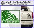 Jesus Saves USA Decal Sticker Green Vinyl Logo 120x97