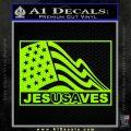 Jesus Saves USA Decal Sticker Lime Green Vinyl 120x120