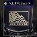 Jesus Saves USA Decal Sticker Metallic Silver Emblem 120x120