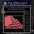 Jesus Saves USA Decal Sticker Pink Emblem 120x120