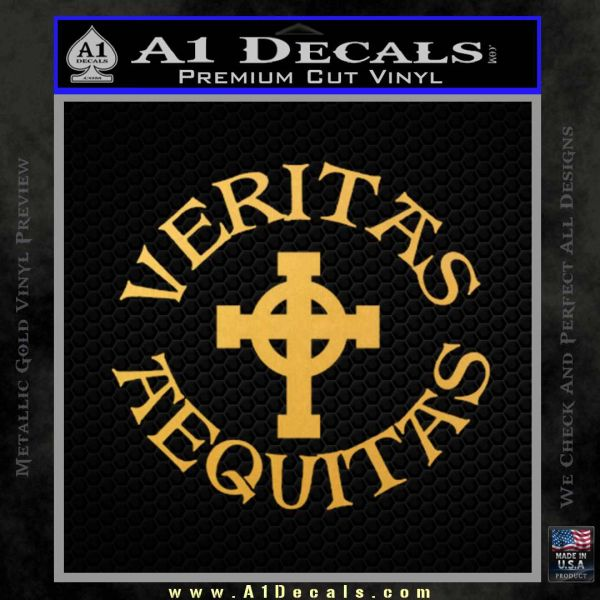 Veritas aequitas celtic cross d1 decal sticker boondock saints irish gold vinyl