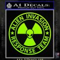 Alien Invasion Response Team Decal Sticker Lime Green Vinyl 120x120
