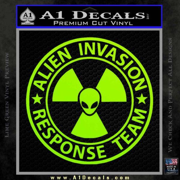 Alien Invasion Response Team Decal Sticker Lime Green Vinyl