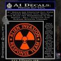 Alien Invasion Response Team Decal Sticker Orange Emblem 120x120