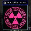 Alien Invasion Response Team Decal Sticker Pink Hot Vinyl 120x120