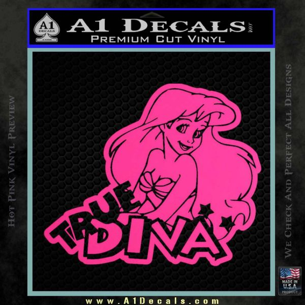 Ariel Little Mermaid True Diva Decal Sticker Pink Hot Vinyl