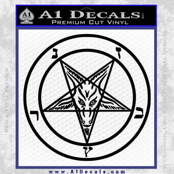 Baphomet Pentagram Decal Sticker Black Vinyl