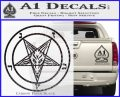 Baphomet Pentagram Decal Sticker Carbon FIber Black Vinyl 120x97