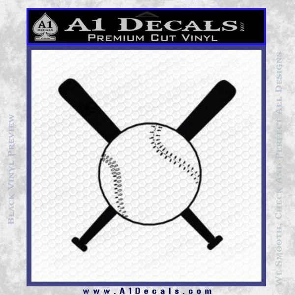 Baseball Bats And Ball Decal Sticker Black Vinyl