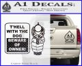 Beware Of Owner Decal Sticker Gun Carbon FIber Black Vinyl 120x97