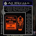 Beware Of Owner Decal Sticker Gun Orange Emblem 120x120