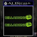 Billabong 2 Pack DW1 Decal Sticker Lime Green Vinyl 120x120