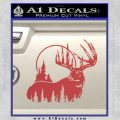 Buck Deer Decal Sticker Red 120x120