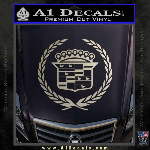 Cadillac Logo Ducks Decal Sticker Metallic Silver Emblem 120x120