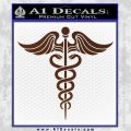 Caduceus Medical Symbol D4 Decal Sticker BROWN Vinyl 120x120