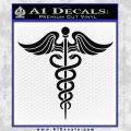 Caduceus Medical Symbol D4 Decal Sticker Black Vinyl 120x120