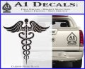 Caduceus Medical Symbol D4 Decal Sticker Carbon FIber Black Vinyl 120x97