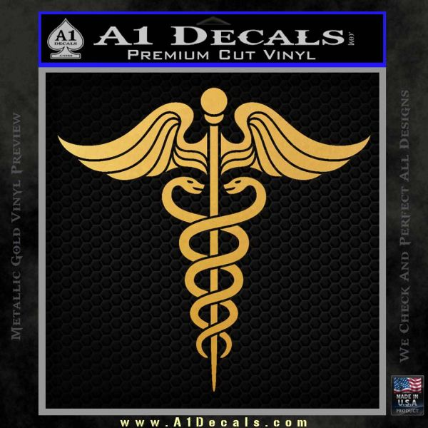 Caduceus Medical Symbol D4 Decal Sticker Gold Vinyl