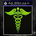 Caduceus Medical Symbol D4 Decal Sticker Lime Green Vinyl 120x120